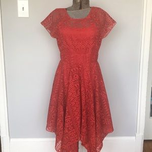 Maeve red orange lace dress